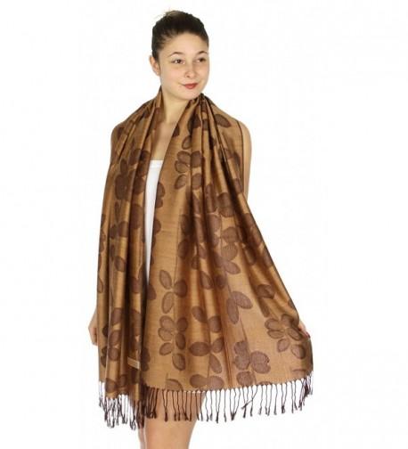 SERENITA Jacquard Pashmina Scarf Camel in Wraps & Pashminas