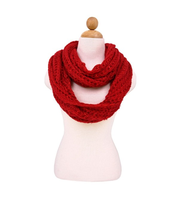 Premium Warm Knit Sequin Infinity Loop Circle Scarf -Diff Colors Avail - Red - C811I4F6K3L