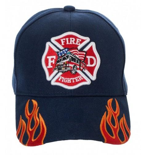 Artisan Owl Fire Fighter Fire Department Rescue Flames Baseball Cap Hat - Navy Blue - CI18699Q7X6