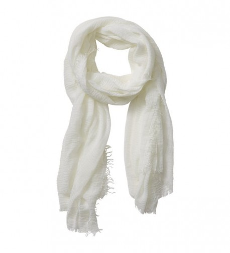"Tickled Pink Classic Soft Solid Stylish Long Lightweight Pashmina-Like Cotton Blend Scarf 38 x 70"" - Ivory - C0184WEA857"
