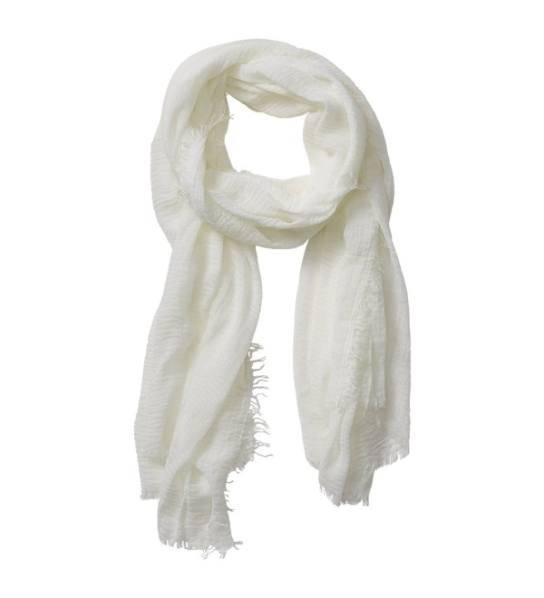 """Tickled Pink Classic Soft Solid Stylish Long Lightweight Pashmina-Like Cotton Blend Scarf 38 x 70"""" - Ivory - C0184WEA857"""