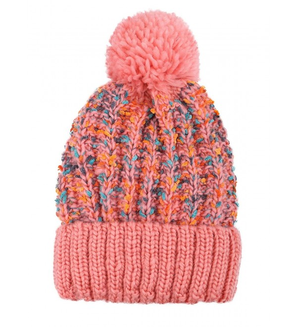 Arctic Paw Adult Chunky Cable Knit Beanie With Yarn Pompom - Pink - CQ1840Y06R5