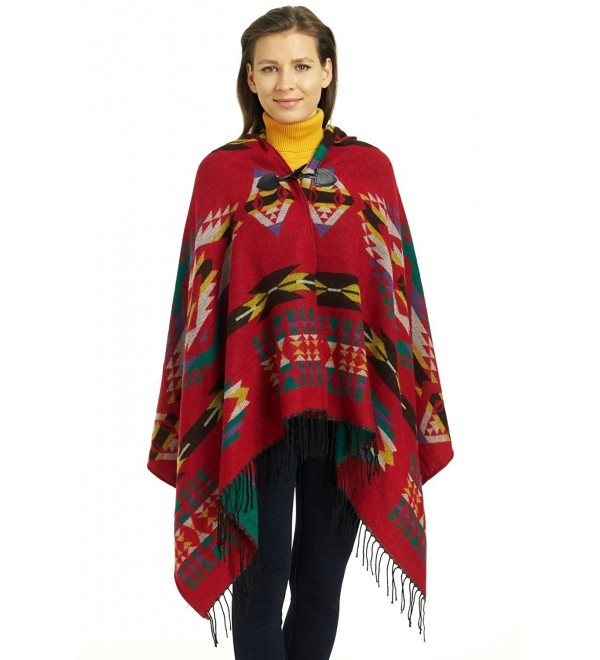 So'each Women's Aztec Winter Hooded Poncho Cape Sweater Knit Shawl Wrap - Red - C3128TJ2OOF