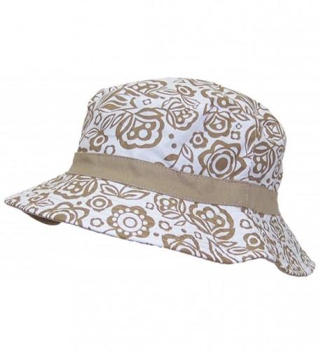 Solid Wing Reversible Summer Floppy Bucket Hat W/Hawaiian Designs (One Size) - Tan - C711VA3GU01