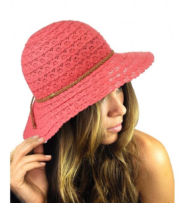 NYFASHION101 Open Knit Brown Braided Trim Vented Cotton Beach Sun Hat - Coral - C512G6LB8O5