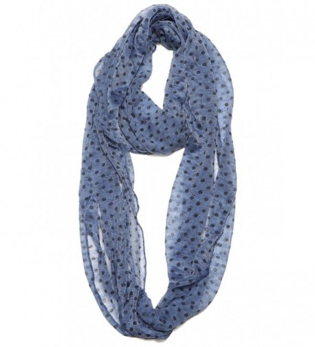 Women Super Lightweight Soft Lace Polka Dot Infinity Scarf - Navy - CR12F08M907