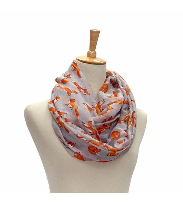 Hatop Fashion Women Ladies Fox Pattern Print Voile Wrap Shawl Scarf - Gray - CX12DDIW7RB