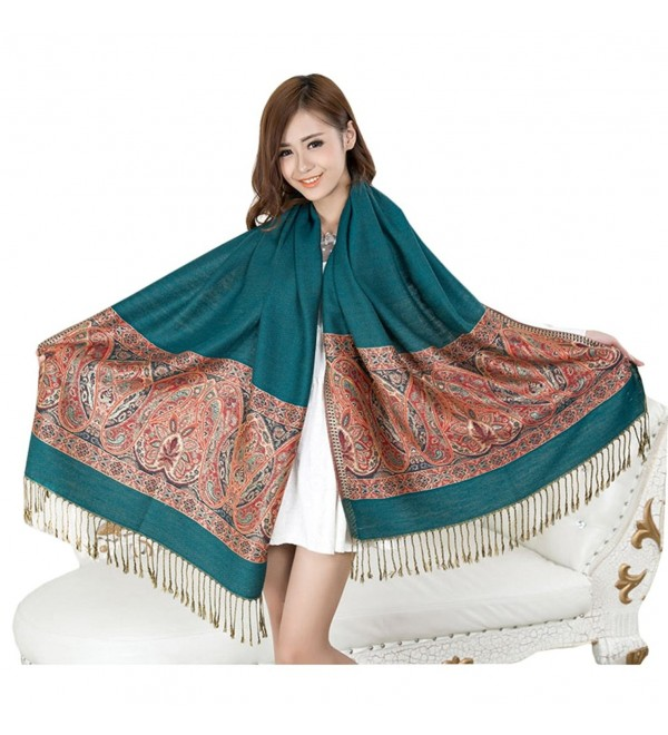 KM Women's Autumn and Winter Warm Scarf Long Ethnic Shawl - Green - C211OVVQS1V