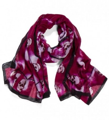 AOLOSHOW Oversized Skull Scarf Printed Shawl Halloween Gift - B Purple Red - C0126OVTA8R