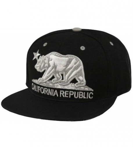 California Republic Flat Bill Visor Snapback Hat Cap - Multiple Colors - White/Black - CH11IBWCPM7