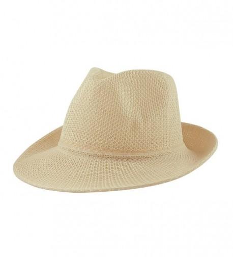 eBuyGB Women's Summer Hat Trilby / Fedora - Beige - C011YVKEWSN
