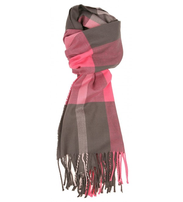 Love Lakeside-Women's Cashmere Feel Winter Plaid Scarf Pink & Grey - CP12MAYXX48