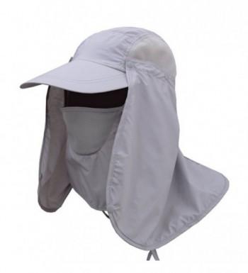ACHIEWELL Men's Fishing Camo Hat Gardening Outdoor Sun Cap - 360° Uv Protection Light Grey - C218C37MM92