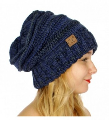 SERENITA C.C Tricolor Warm Oversized Slouchy Soft Cable Knit Beanie Hat - Navy - CK186GA6NCQ