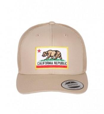 California Republic Flag Embroidered Patch On Flexfit Retro Classic Trucker Hats - Khaki Bear - C912IRIW6EL