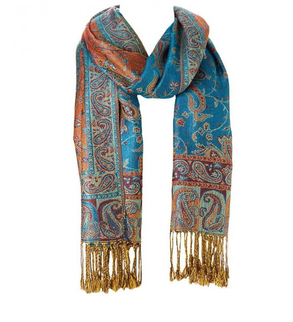 Women's Stylish Warm Blanket Scarf Gorgeous Wrap Shawl Pashmina Winter solid Color Scarves - Blue Orange - CR184XWXWIY