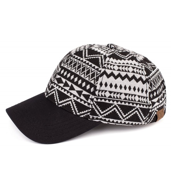 Funky Junque's C.C Women's Tribal Aztec Tapestry Festival Velcro Baseball Cap - Black/Ivory - CA17XQ9XMMM