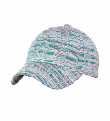 C.C Silver Metallic Multicolor Weaved Adjustable Precurved Baseball Cap Hat - Mint - CF17YC5Z4NU