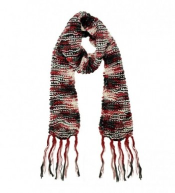 Long Two-Tone Knit Unisex Winter Scarf - Red - CD117XRA829