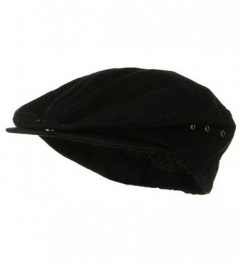 Mens Black Washed Canvas Ivy Ascot Cabbie Cap - CC11QRV3L3L