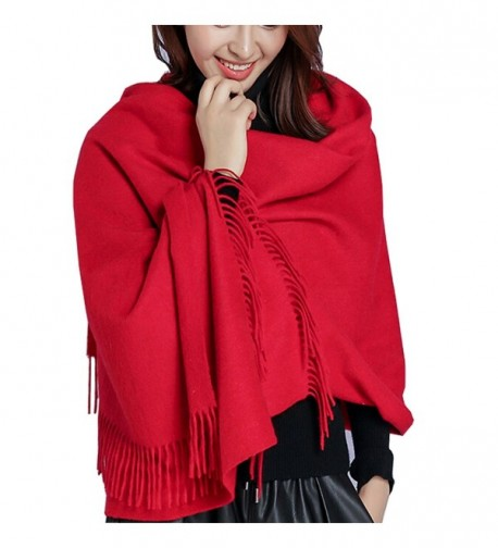 Iristide Womens Scarf Solid Color Winter Warm Wool Thick Large Shawls Wrap(200x78cm) - Red - CW187M53SDG