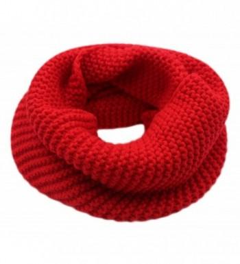 CC-US Women Winter Infinity Scarf Knit Neckerchief Warm Circle Loop Shawl - Red - CG184HWAQDA
