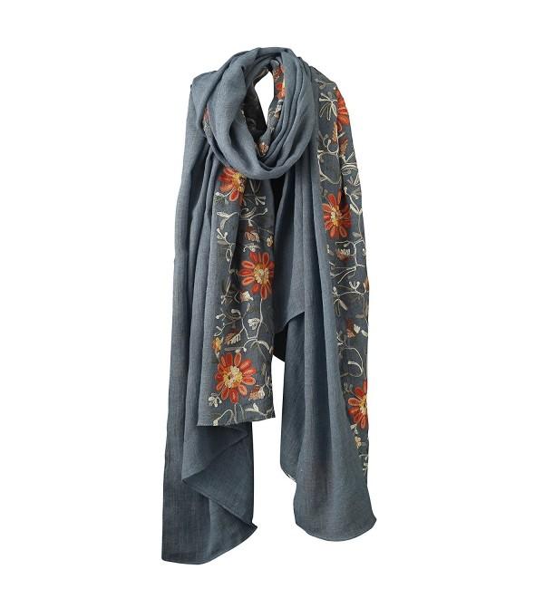 Welltogther Womens National Style Lightweight Neck Scarves Flower Wrap Shawl &iexcl&shy - Denim Blue - CK18444OTD4
