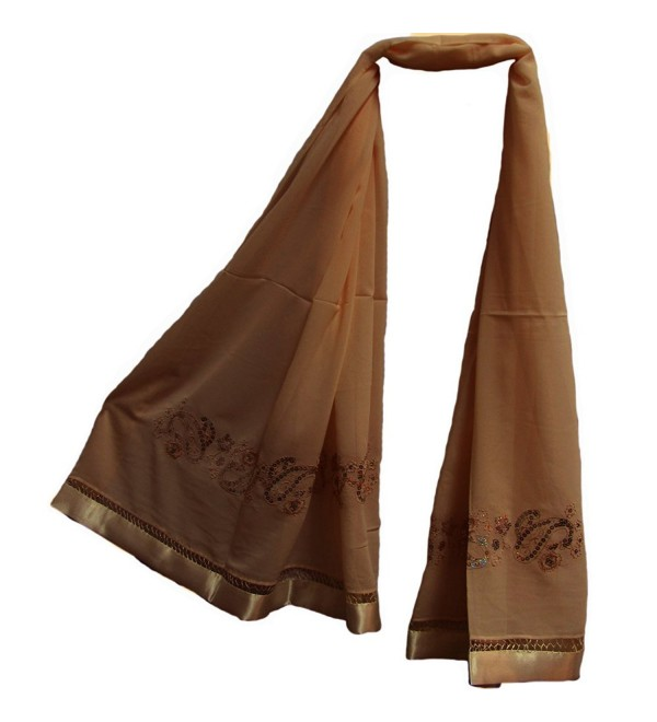 Womens Sequined Silk Chiffon Embroidered Hijab Pashmina Brown Shawl Scarf - CA11NPU0E5P