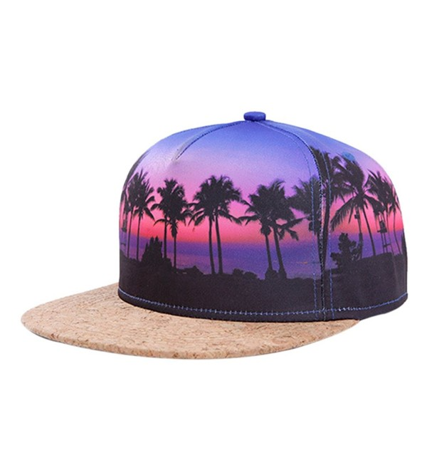 So'each Galaxy Hawaii Coconut Tree Print Flatbill Visor Snapback Cap Baseball Hat - CCT-H70 - CH12FM1UB9D