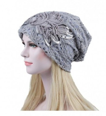 Witspace Chemo Hats- Women Printing Cancer Chemo Hat Beanie Scarf Turban Head Wrap Caps - Gray - C5180A53SGL