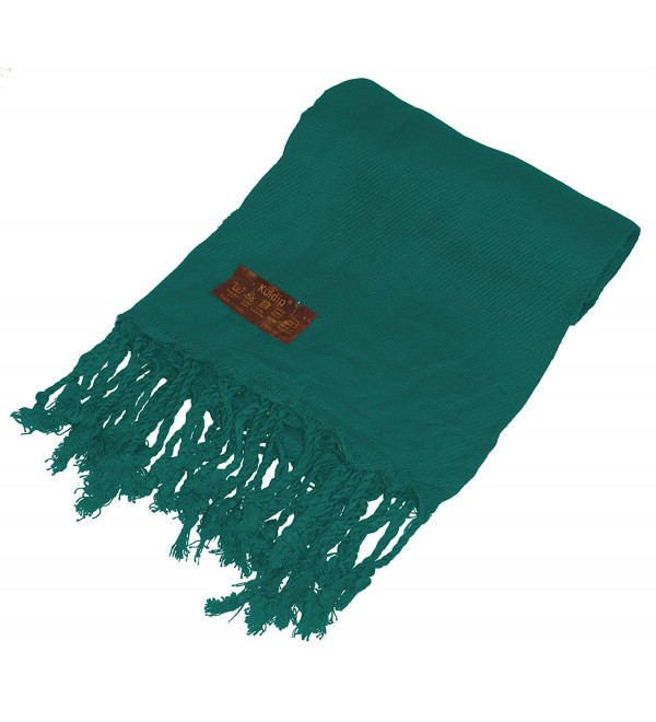 Kuldip Unisex Pashmina Scarf Shawl Wrap Throw Teal Green - C61130IWUXL