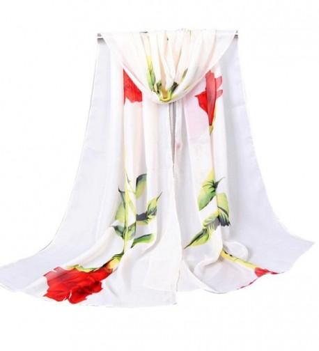 Scarf- WILLTOO Women Rose Long Soft Wrap Shawl Chiffon Scarf Scarves - Beige - CH12MZZSPJV