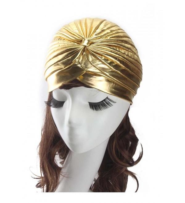 Women's Indian Scarf Cap Yoga Hat Fold Cap Head Wrap Cap Cover - Gold - CV186Q30EAM