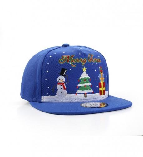 MERRY XMAS Christmas Tree & Snowman Snapback Baseball Cap - C017Z26M7CE