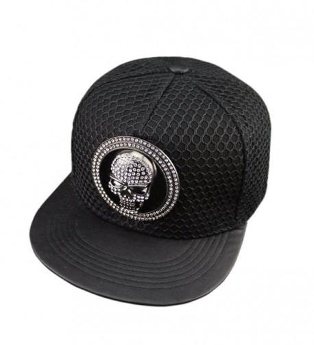 Kafeimali Men's Women's Hip-hop Hat Metal Skull Baseball Caps Sports Sun Hats - Black - CA12ELHDZPV