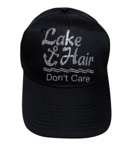"Glitter ""Lake Hair Don't Care"" Black Cotton Baseball Cap Hat - Silver Glitter - C812FYO26SH"