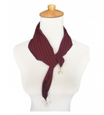 GERINLY Neckerchief - Jewelry Ended Fashion Women Pinstripe Scarf - Wine - CP17YQXD6X4