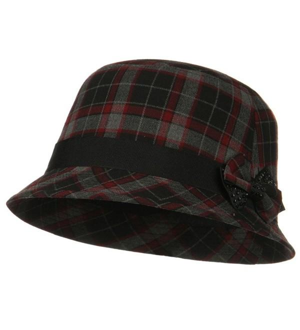 Plaid Wool Felt Cloche Hat with Bow Tie - Red Plaid - CH11FIUGXQT