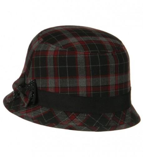 Plaid Wool Felt Cloche Hat