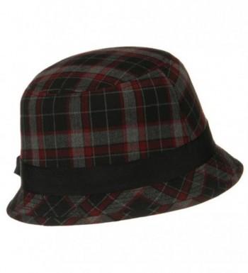 Plaid Wool Felt Cloche Hat in Women's Bucket Hats
