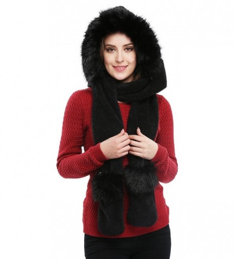 Soft Winter Warm Hooded Scarf Headscarf Neckwarmer Hoodie Hat - Black - CR12NYG5KOT