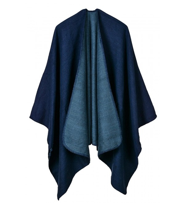 Fixmatti Women's 2017 Winter Knitted Cashmere Poncho Capes Shawl Cardigans Coat - 02-navy Blue - CT185X9NQ0E