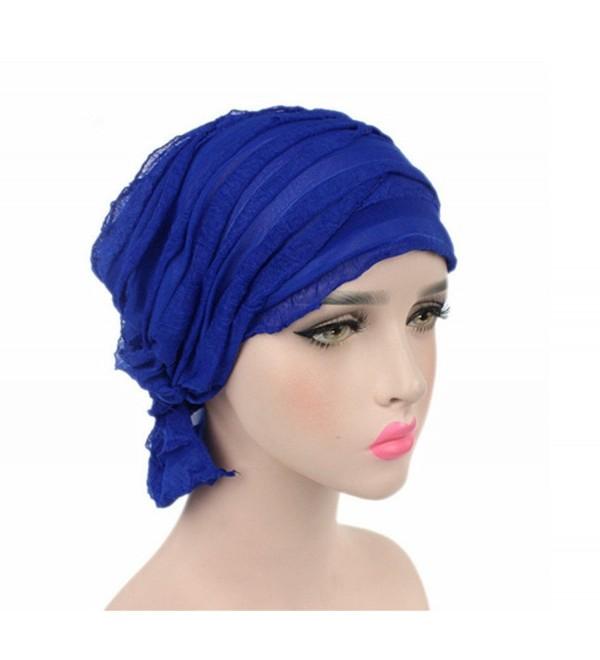 Chemo Cancer Head Scarf Hat Cap Ethnic Cloth Turban Headwear Women's Ruffle Beanie Scarf - Blue - CG1822ZYDXG
