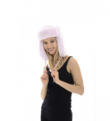 No Guilt Fur Ultra Soft Rabbit Fur Trapper Hat - Baby Pink - C012CNVYX4T