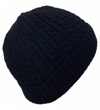 Angela & Williams Adult Tight Cable & Rib Knit Cuffed Winter Hat (One Size) - Black - C011SFJQ8GP