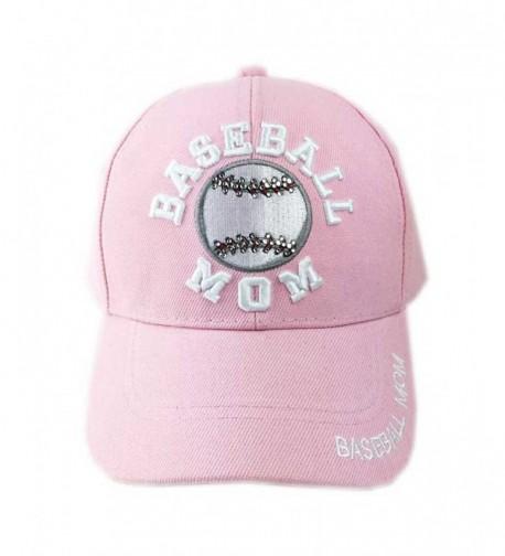 Aesthetinc Stone Bling Bling Baseball Soccer Basketball Football Sport Mom Cap - Baseball Pink - CN183R6QG9Y