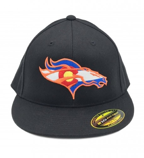 UNAMEIT Colorado Flag Bronco Hat 210 Fitted Flat Bill Flexfit Hat - Black - CK12DXVDB87