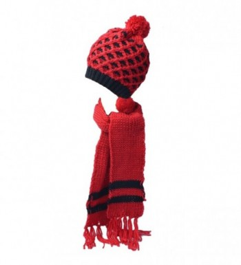 Kate Marie 'Polly' Handcrafted Pineapple Pattern Knit Beanie Hat with Scarf Two Piece Set - Red - CB11QB5VFRH