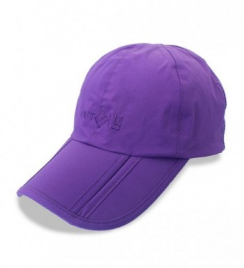 Mens Foldable Waterproof Baseball Cap Sun Hat For Dad With Adjustable Strap Back - Purple - C1184ADWC3T