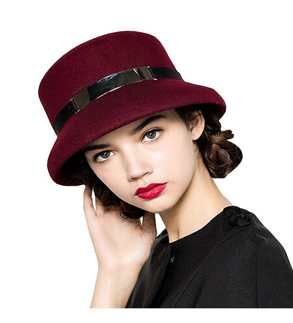 Maitose Women's Simple Wool Felt Bucket Hat - Wine Red - CL12MCI7AP1